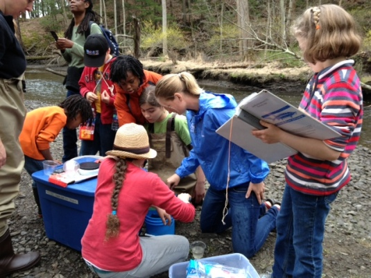 Kids from the Hudson Valley Homeschool Roots & Shoots group help environmental scientists count eels.
