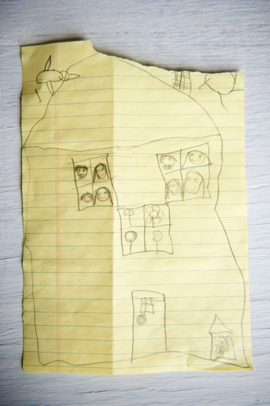 Insha's drawing, which she sent in with her collection for Aschiana